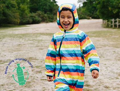 Childrens recycled jackets and puddle suits